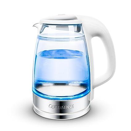 CAICOLORFUL Calentador eléctrico Mini vidrio Anti-escaldante PP + 304 Acero inoxidable 1.7L 1850W