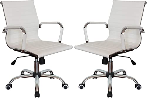 Classic Replica Medium Back Ribbed Ergonomic Office Wheels Chair Leather Swivel Tilt Adjustable Manager Executive Chair