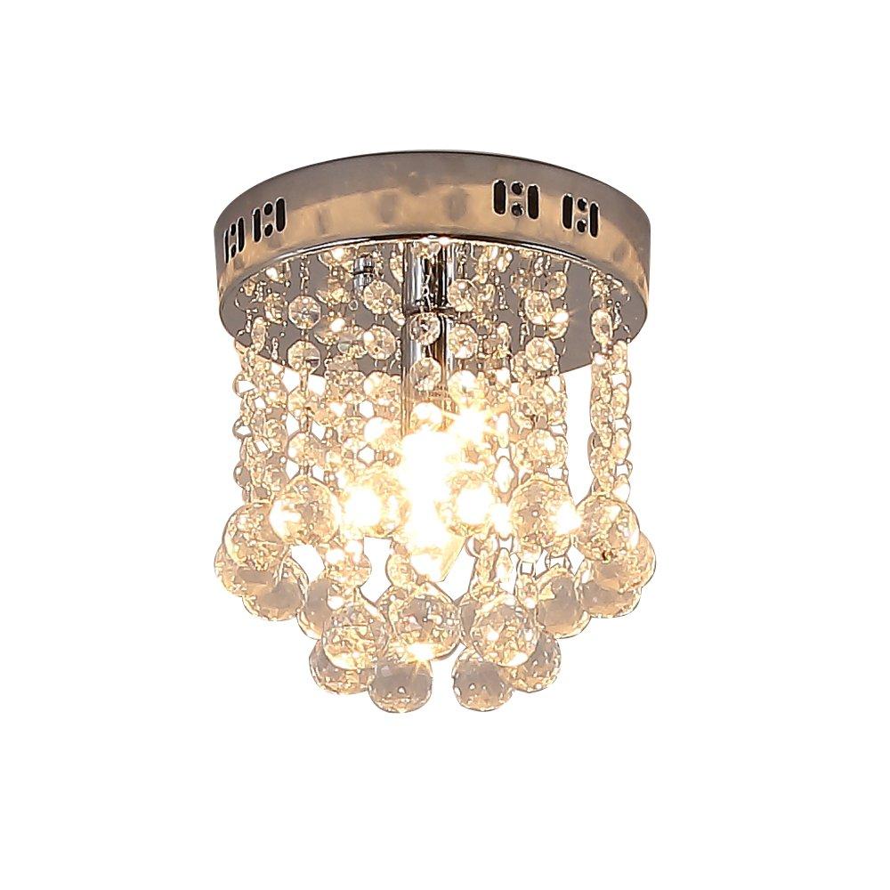 Lightess Mini Chandelier Lighting 1-Light Flush Mount Crystal Ceiling Lights for Kitchen Dining Room, DY-A25