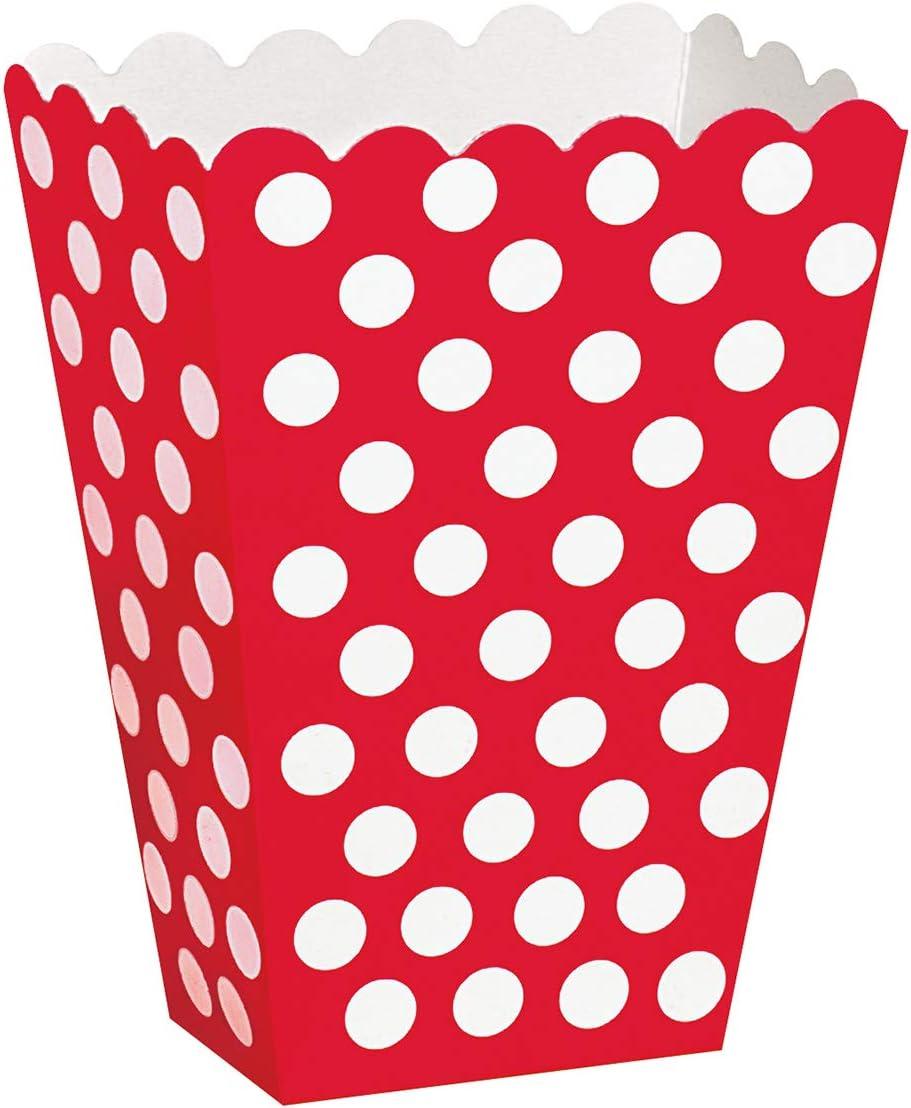 Red Polka Dot Popcorn Treat Boxes, 8ct