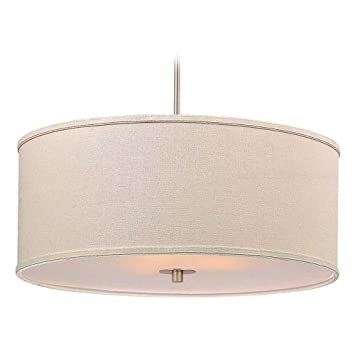 modern drum pendant light with cream linen shade lighting fixtures l