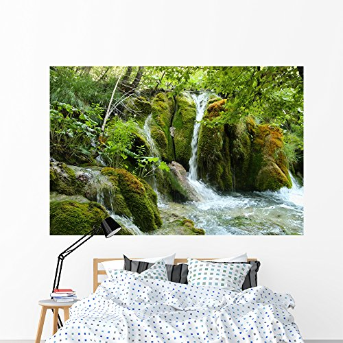 (Wallmonkeys Mossy Forest Waterfall Wall Mural Peel and Stick Graphic (72 in W x 48 in H) WM136034)