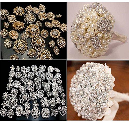Lvow Silver/gold Color Sparking Wedding Bridal Crystal Brooch Bouquet Kit Pack of 10