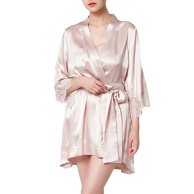 Kimono De Seda De Las Mujeres Albornoces De Encaje Sexy Pijamas Camisones Camisones Con Bolsillos Bata