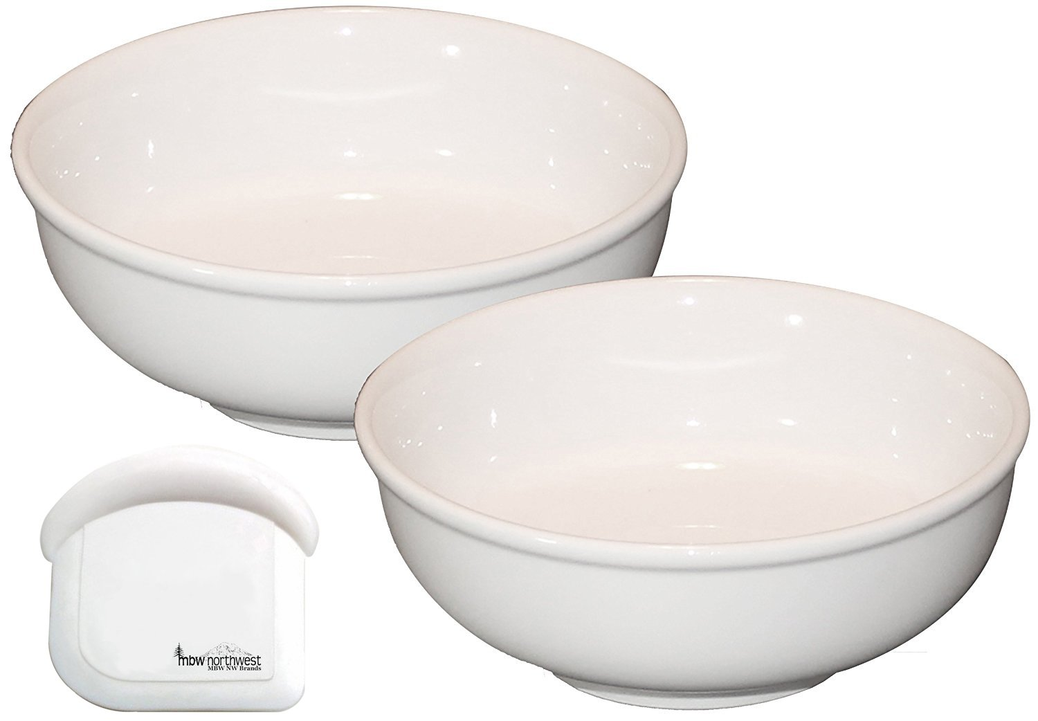 Cameo Ceramic Pho Soup Bowls with Pan Scraper, 7.25 Inch, 38 Ounce, Set of 2, White Ivory