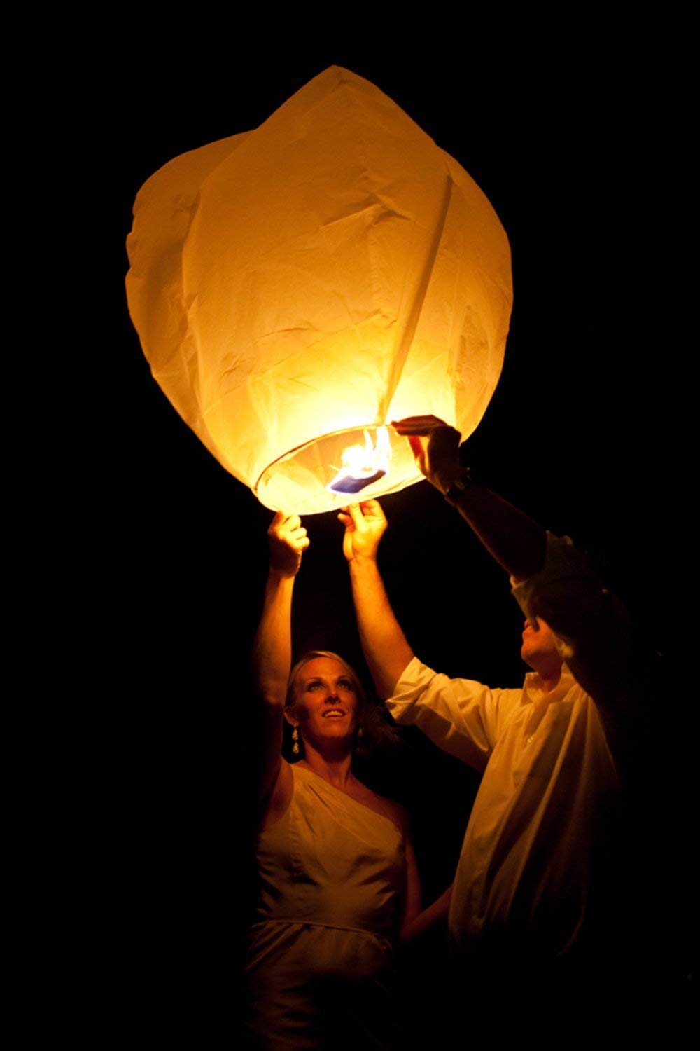 Chinese Paper Flying Sky Lanterns(10 Pack) - 100% Biodegradable, White Environmentally Friendly Lanterns for Wedding, Christmas, Memorial, Party etc (Diamond) by Libershine