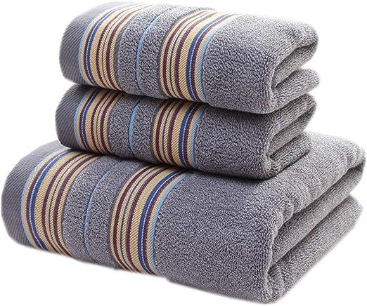 3 Pcs Solid Heavy Egyptian Cotton Luxury Bath Spa Towels Set Blue White Grey Yel