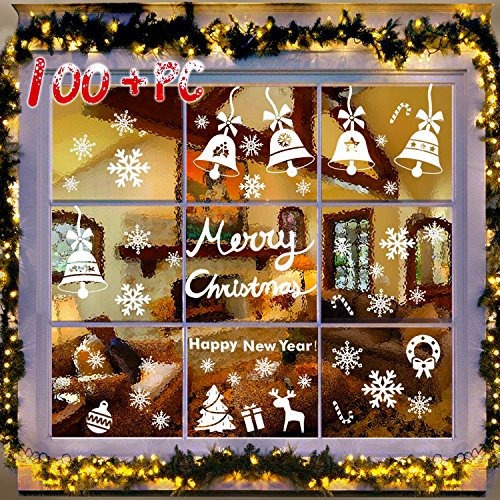 107 PCs 3 Sheets Snowflakes Window Clings PVC Winter Decal Stickers for Christmas Decorations Winter Ornaments Xmas Party Stickers by R • HORSE (White Snowflakes / Baubles / Bells INCLUDED) (Clings Floor Christmas)