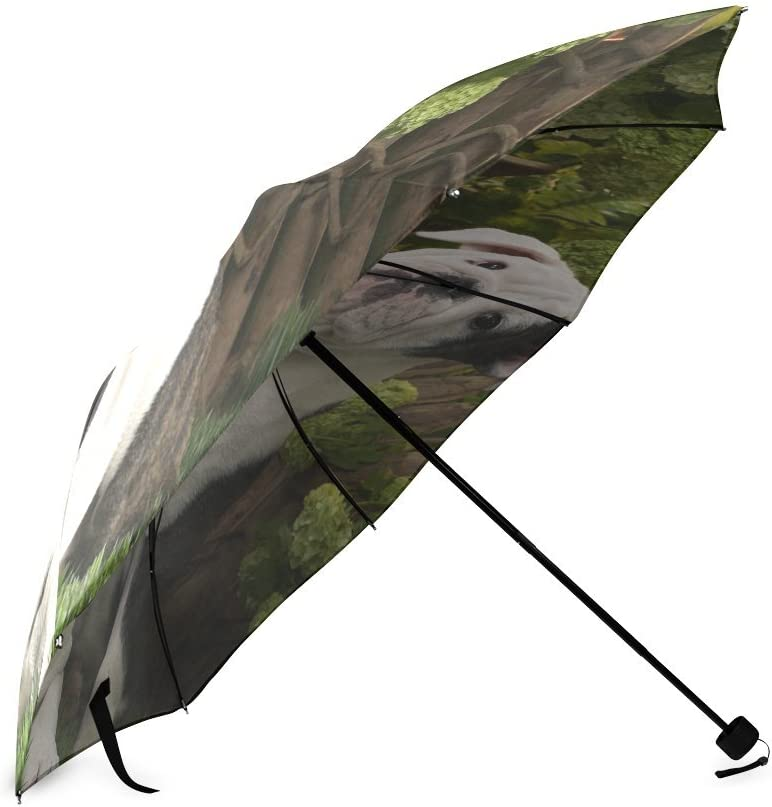 Custom Cute Bull Dog Compact Travel Windproof Rainproof Foldable Umbrella
