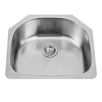 vigo 24 inch undermount single bowl 18 gauge stainless steel kitchen sink vigo 24 inch undermount single bowl 18 gauge stainless steel      rh   amazon com