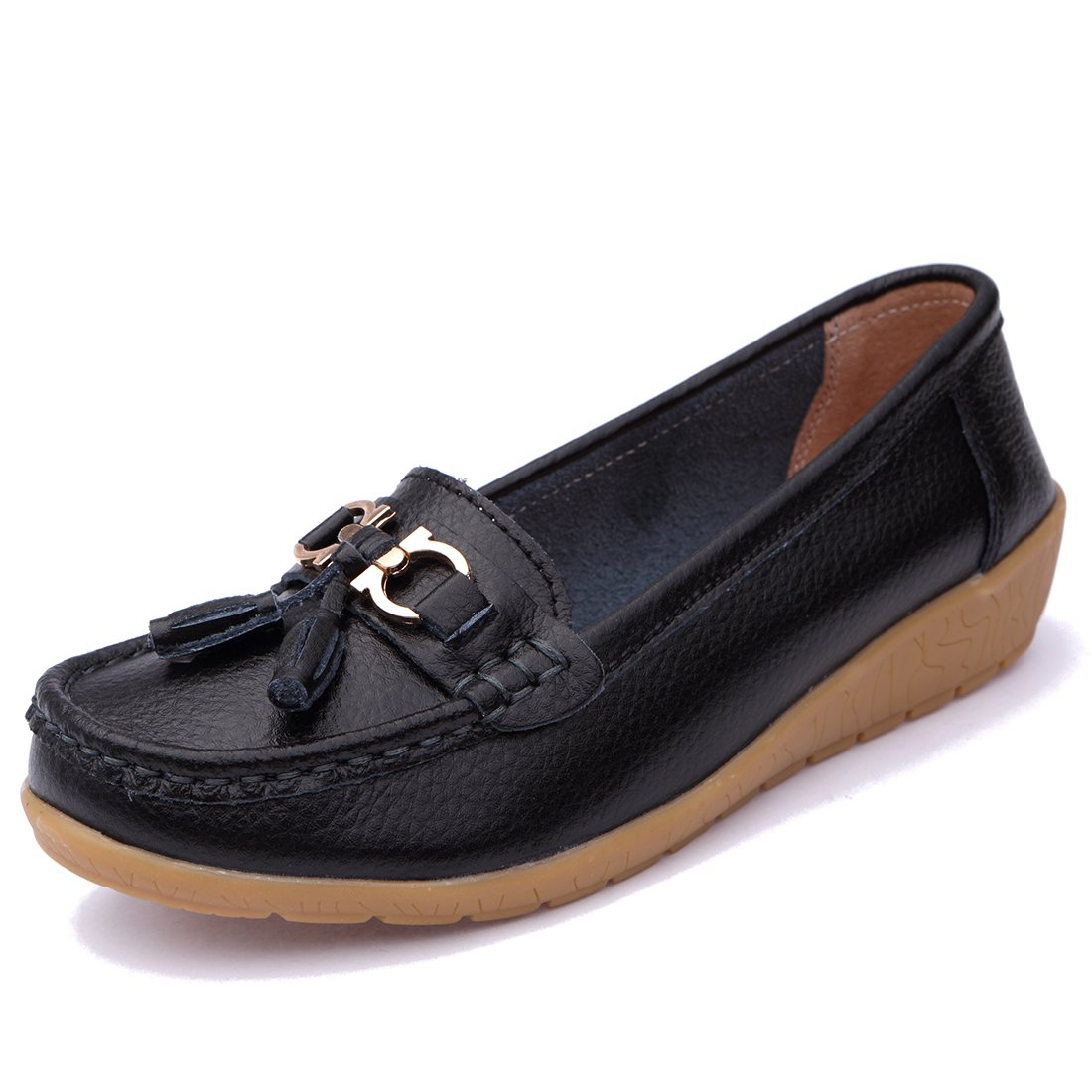 BTDREAM Women's Leather Tassel Loafers Casual Moccasin Driving Flat Slip-On Shoes Black Size 44