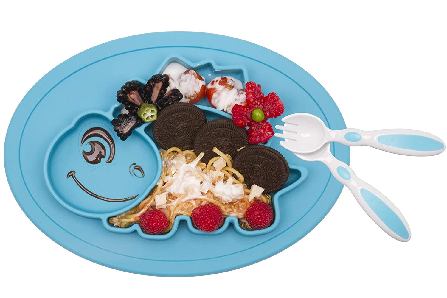 Baby Silicone Placemat, Non-Slip Feeding Suction Plate for Toddlers Babies Kids Fits Most Highchair Trays BPA-Free FDA Approved, Dishwasher and Microwave Safe with Spoon and Fork Novos