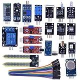 Kuman 20 in 1 Sensor Modules Learning Kit with Hc06 Bluetooth Sensor Module for Arduino UNO R3 Mega2560 Mega328 Nano KY63