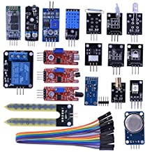 Kuman 20 in 1 Sensor Modules Learning Kit with Hc06 Bluetooth Sensor Module for Arduino UNO R3 Mega2560 Mega328 Nano KY63