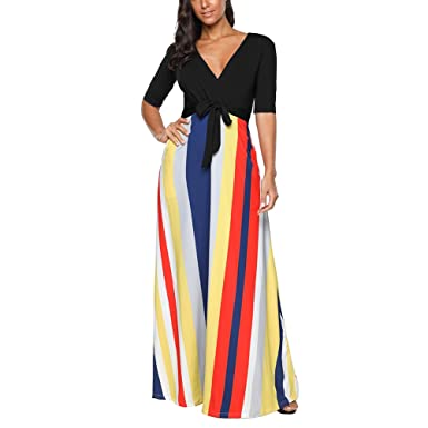 92d7e684a90 OPSLEA Boho Casual Striped Long Dress Short Sleeve High Waist Party Maxi  Dress Black
