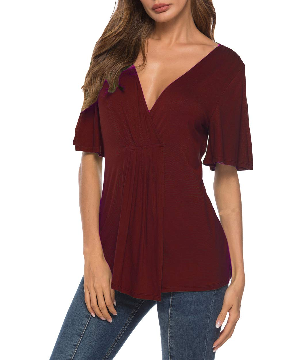 Eanklosco V Neck Shirts Womens Sexy Short Sleeve Cold Shoulder Tops Unique Ruffle Front Side Slit T Shirts (M, Wine Red)