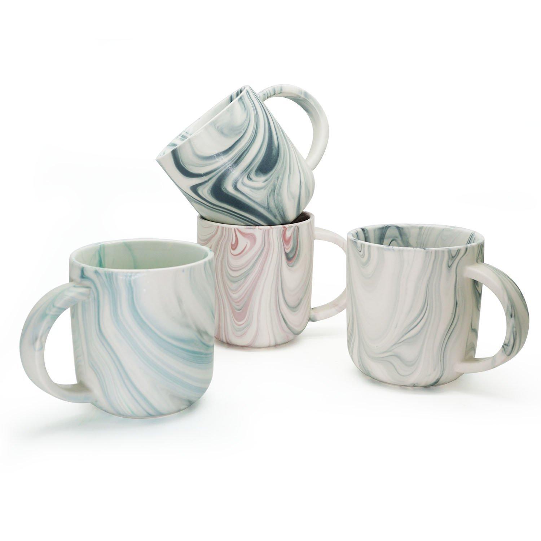Douzi Ceramic Marbled Mug Set of 4, 16-Ounce Coffee Mug Set, Assorted Colors by Douzi (Image #1)