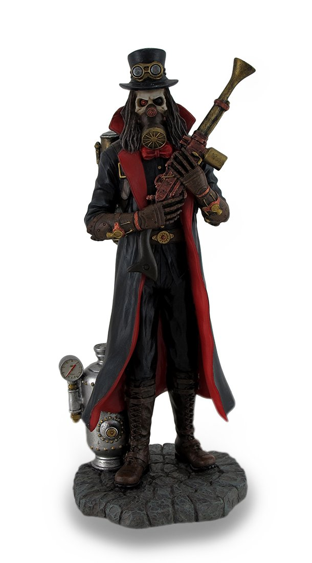 Veronese Resin Statues Hand Painted Steampunk Grim Reaper Fantasy Statue 3 X 8.5 X 3.5 Inches Black