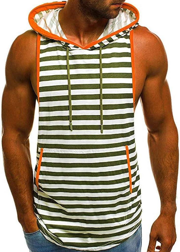 Hmlai Clearance Men Tank Top Fashion Casual Stripe Print Hoodie Pocket Sleeveless Summer Sport T Shirt Vest
