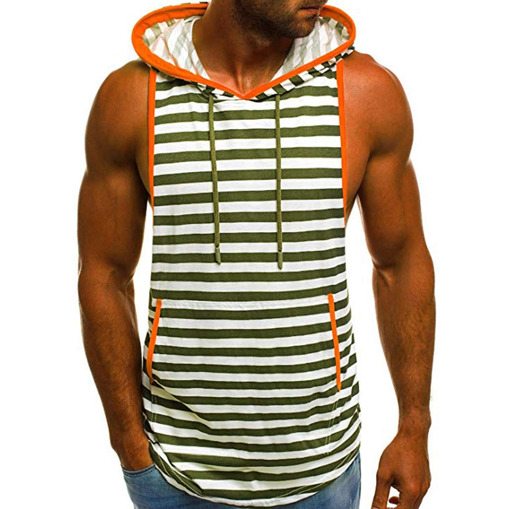 Hosamtel Men Hooded Sleeveless T-Shirt Hoodie Stripe Print Fashion Casual Loose Sport Vest Tank Tops Blouse with Pocket Army Green