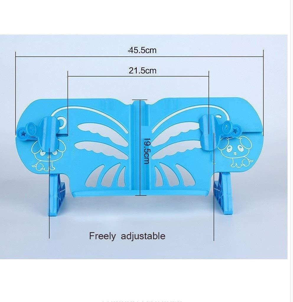 Einstellbarer Multifunktions-B/ücherregal-Leserahmen zum Lesen for Kinder Tragbarer Teleskop-Buchhalter mit Stifthalter Color : Blue