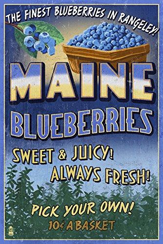 Rangeley, Maine - Blueberry Farm - Vintage Sign (8oz Whole Bean Small Batch Artisan Coffee - Bold & Strong Medium Dark Roast w/ Artwork) by Lantern Press (Image #3)'