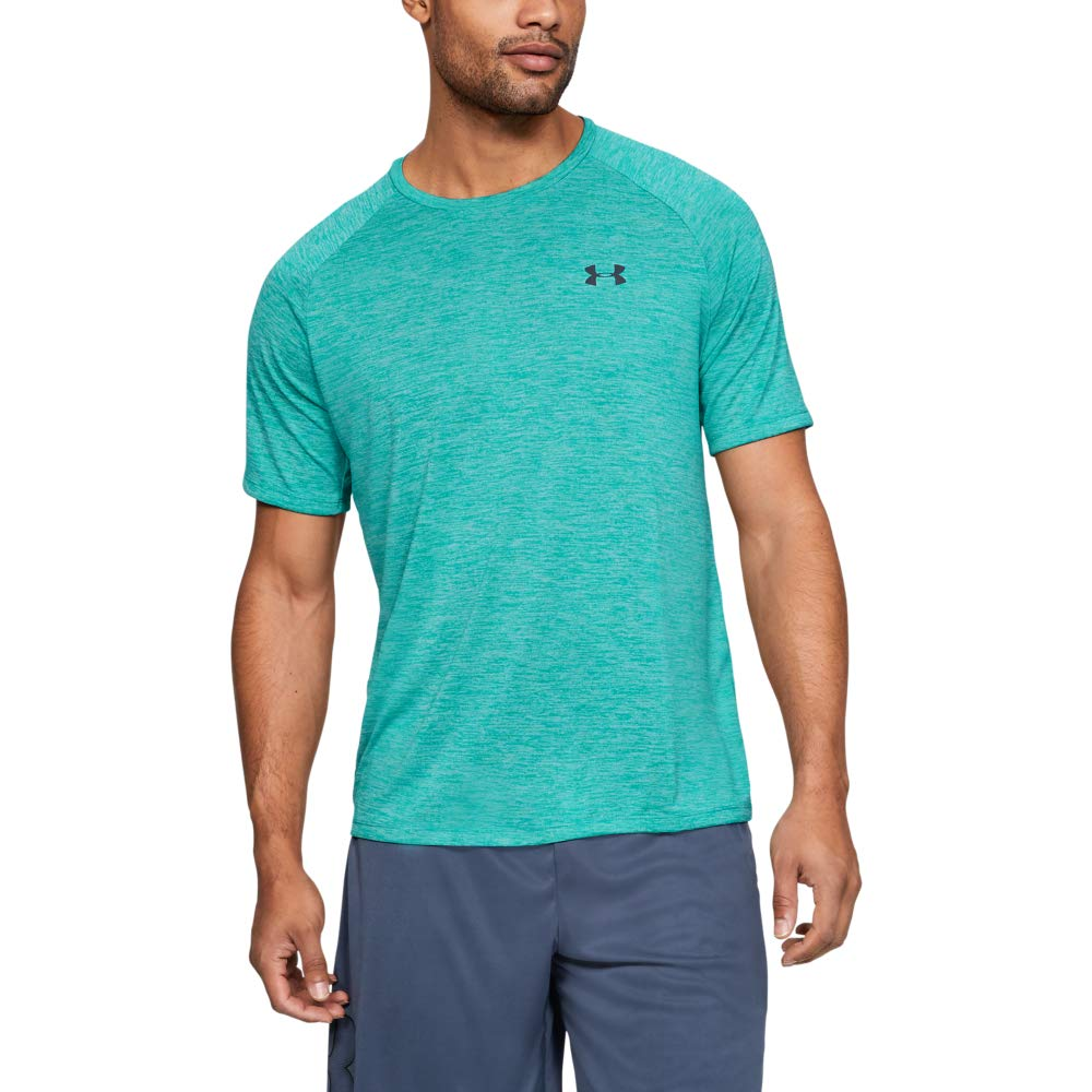 Under Armour Men's Tech 2.0 Short Sleeve T-Shirt, Teal Rush (454)/Pitch Gray, X-Large by Under Armour