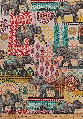 Cotton Elephants Pachyderm Floral Middle Eastern Asian Orient Animals Ruth Cotton Fabric Print by The Yard (C4711)