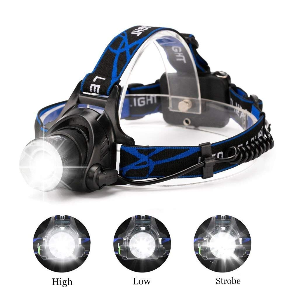 Ultra-bright XML T6 3000 Lumen 3 Mode Tactical Headlight with AAA Batteries Waterproof Taclight Headlamp Hands-Free Taclamp (2 Pack) by Ploarnovo (Image #4)