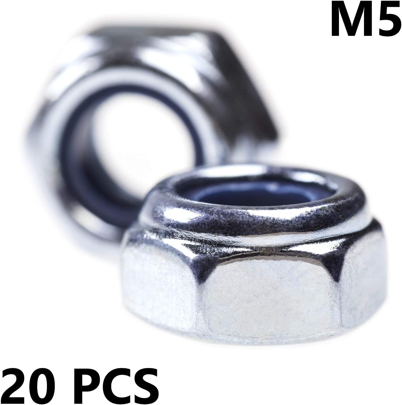 Nyloc Nut M5 5mm Nylock Nuts Nylon Insert Lock Hex Self Locking Nuts Bright Zinc Plated 20 Pack Pieces Bolt Base Threaded Insert Assortment Head Bolts High Tensile Fasteners