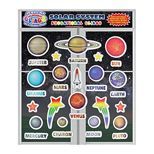 Solar System Reusable Puffy Sticker Glass Window Clings for Kids and Toddlers (by Incredible Gel and Window Clings) - Outer Space, Planet, Galaxy, Moon - Home, Airplane, Classroom, Nursery Decoration