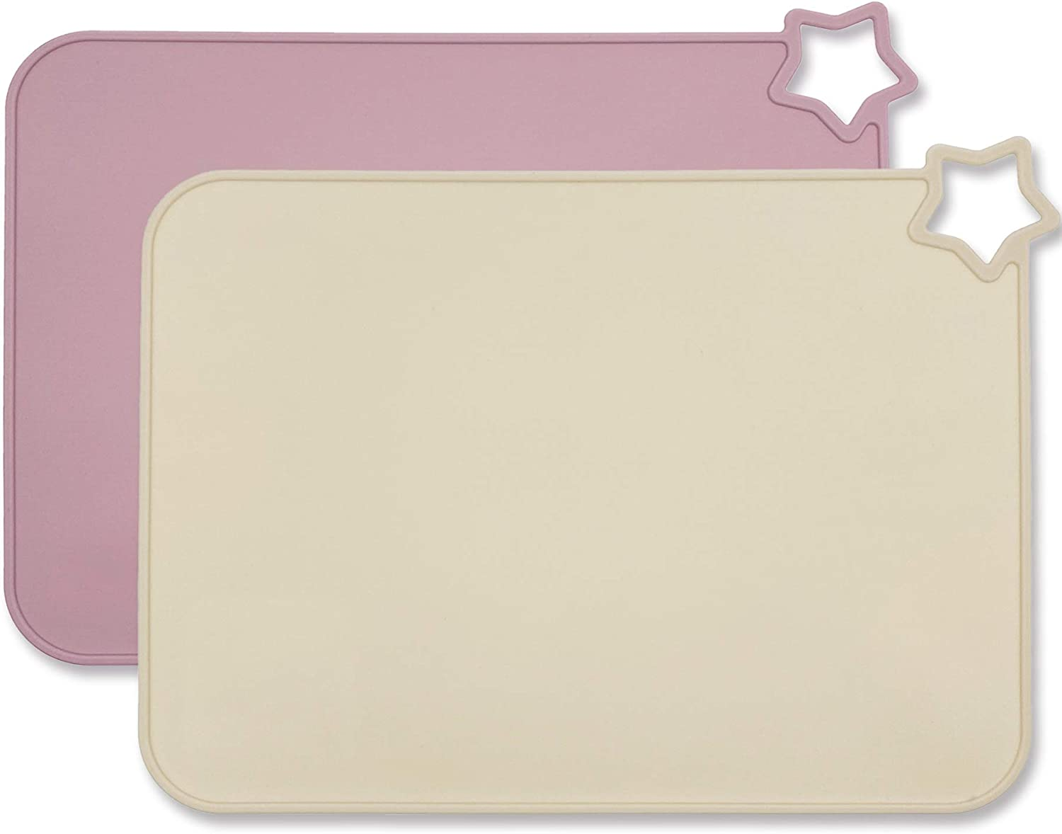 Moonkie Silicone Placemats for Baby & Kid, Stain Resistant Non-Slip Toddler Food Mats Eating Table Mat with 2 Packs (Pale Mauve/Shifting Sand)