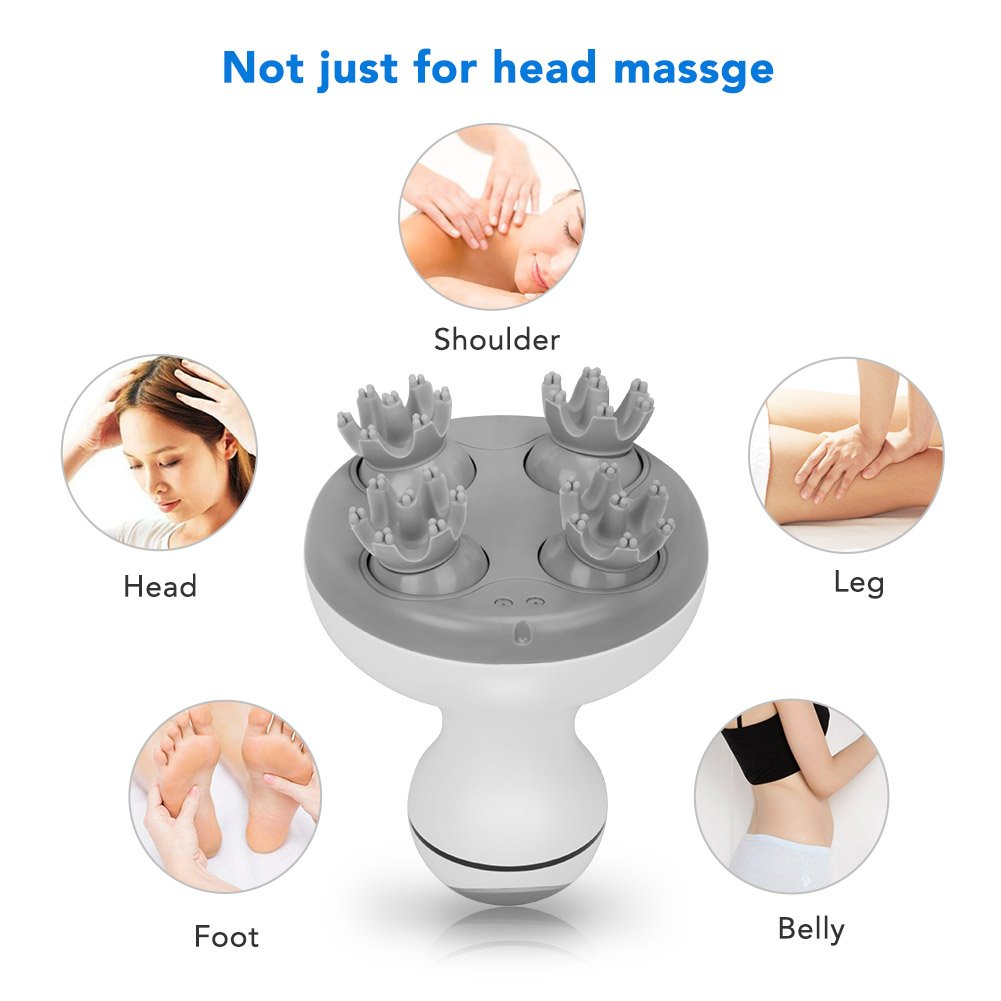 Electric Scalp Head Massager, MANLI Handheld Hair Massager Rechargeable IPX7 Waterproof with 4 Heads 84 Nodes for Stimulating Hair Growth, Deep Clean and Stress Release by MANLI (Image #8)