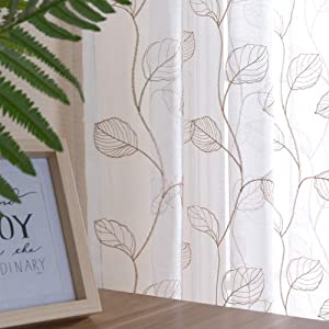 Topick Taupe Leaf Tile Sheer Curtains for Bedroom Leaf Embroidery Voile Sheer Curtain Rod Pocket for Living Room Window Treatment Set 84 inch 1 Pair