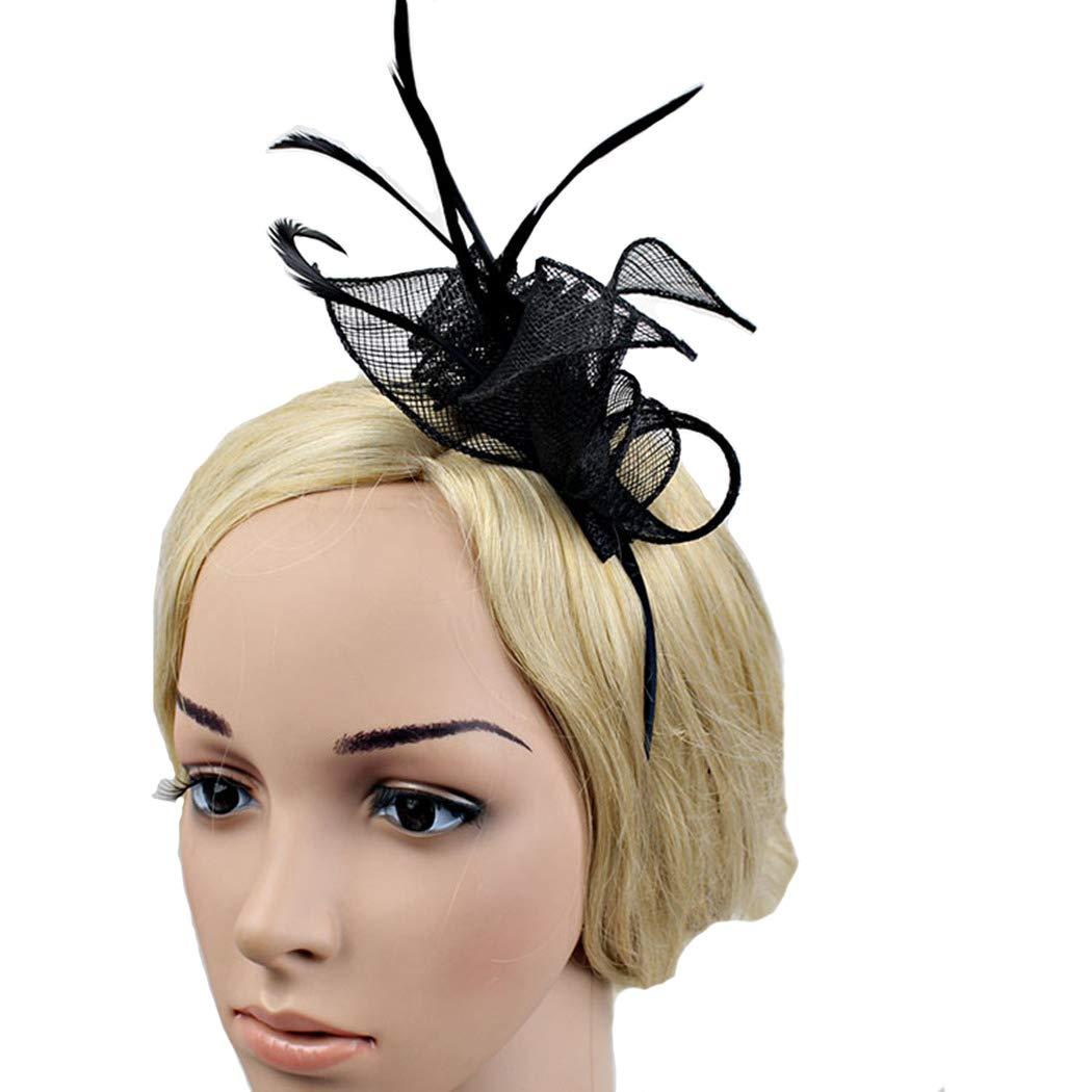 dressfan Fasce per le donne Palazzo Ladies Party Banchetto Prom Mesh Fascia Hairband Copricapo Fascinator Retro canapa Cappello Accessori per capelli