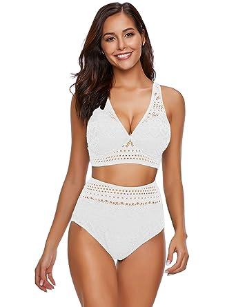 85238b0e8f7 Amazon.com  luvamia Women s Two Pieces Crochet Lace High Waist V Neck Bikini  Set Swimsuit  Clothing