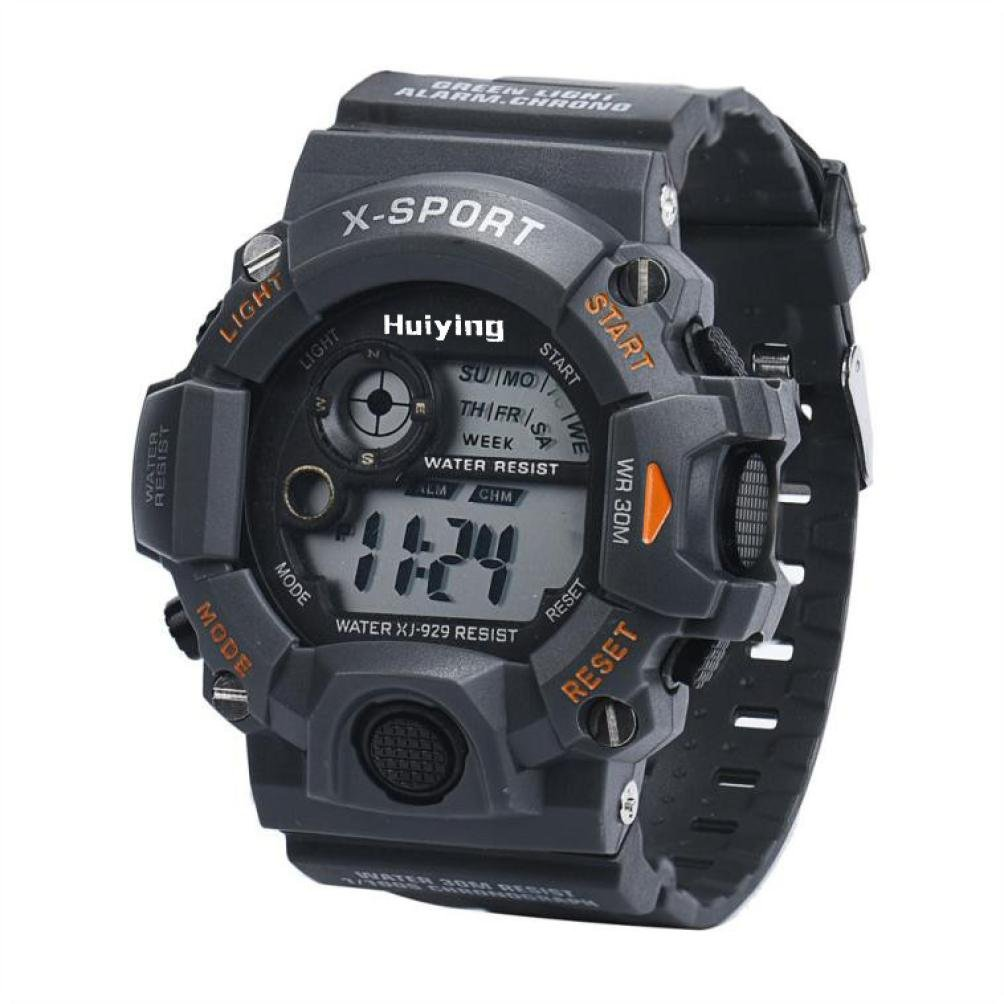 Siviki Men's Quartz Digital Sports Watches LED Military Silicone Waterproof Wristwatche (Gray)