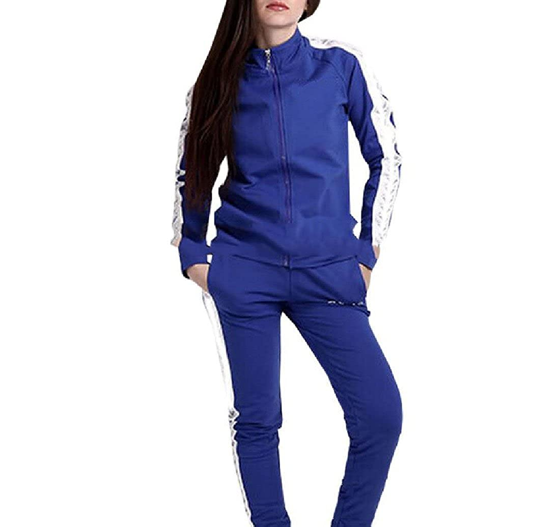 ColourfulWomen Colourful Womens Solid Stitching Pocket Striped Zip Up Tracksuit Set Jacket