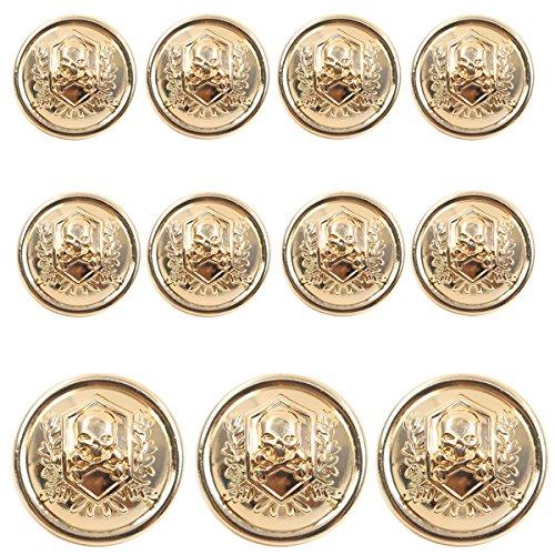 Vintage Gold Button (11 Pieces Gold Vintage Metal Blazer Button Set - Skull - For Blazer, Suits, Sport Coat, Uniform, Jacket)