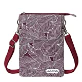 Cell Phone Purse Wallet Canvas Leaf Pattern Small Crossbody Purse Bags For Women(Red)