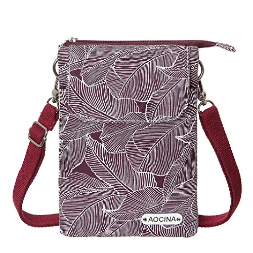 Cell Phone Purse Wallet Canvas Leaf Pattern Small Crossbody Purse Bags For Women(Red) by AOCINA (Image #1)