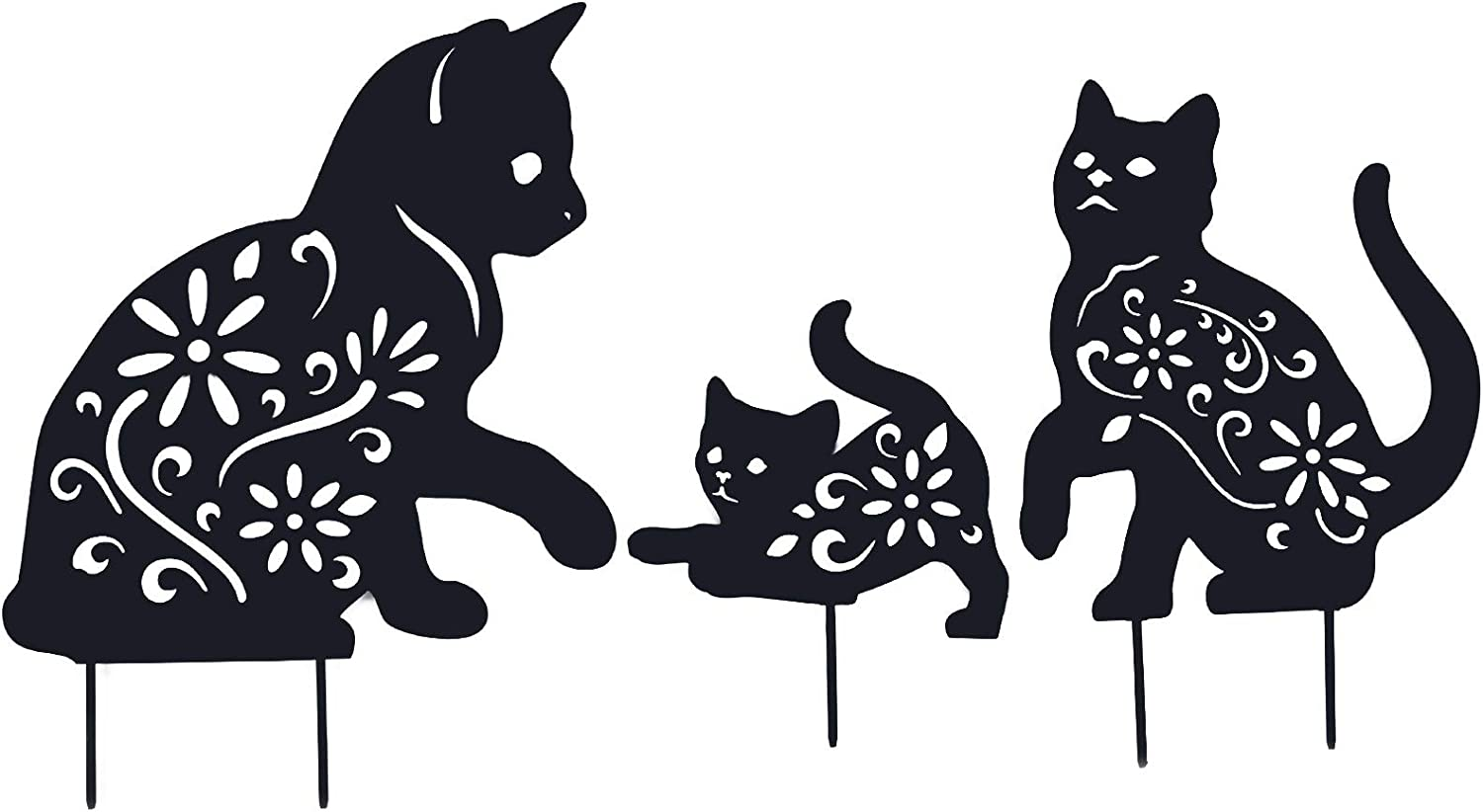 hogardeck Cat Garden Metal Stakes - 3 Pack Black Cat Silhouette Stake for Yard, Garden Decor, Animal Lawn Patio Outdoor Decorations, Gifts for Cat Lovers