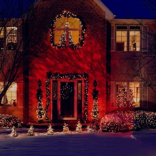 [Fedpop Christmas Outdoor Indoor Decoration LED Flame Lights Rotating Kaleidoscope Waterproof Spotlight Projector for Halloween Birthday Night Home Landscape Party Yard Wall] (Halloween Yard)