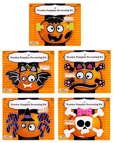 Wooden Pumpkin Decorating Push In Craft Kits - Set of 5 - Spider, Cat, Skull, Bat and (Halloween Pumpkin Cat Faces)