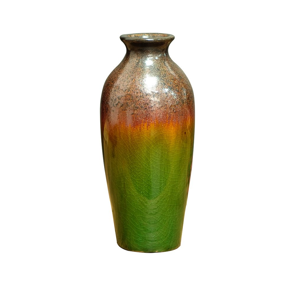 FUYUAN 7.7'' High Green and Brown Artificial Ceramic Decorative Vase with Gradient Color, Centerpieces and Ideal Gifts for Wedding, Party, Home,Office and Spa 689