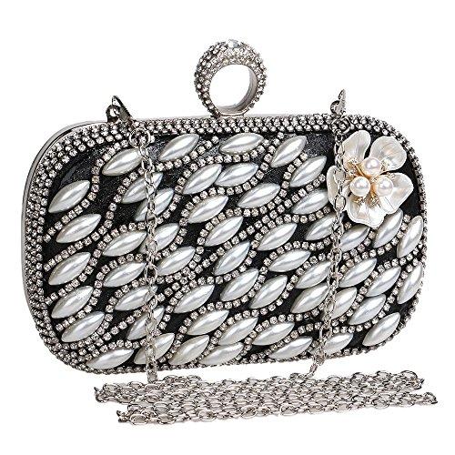 Embrayages Bague Soirée Diamants KYS Design Perles de Sac Fleur Mariage de Sacs black soirée Sac dTIPqfwxP