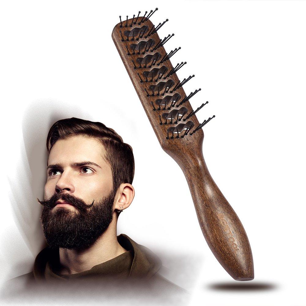 BESTOOL Haarbürste Rund Nylon Borsten Großer Tunnel Antistatischer Fön Trockner Wooden Vent Wet Brush für Männer und Frauen