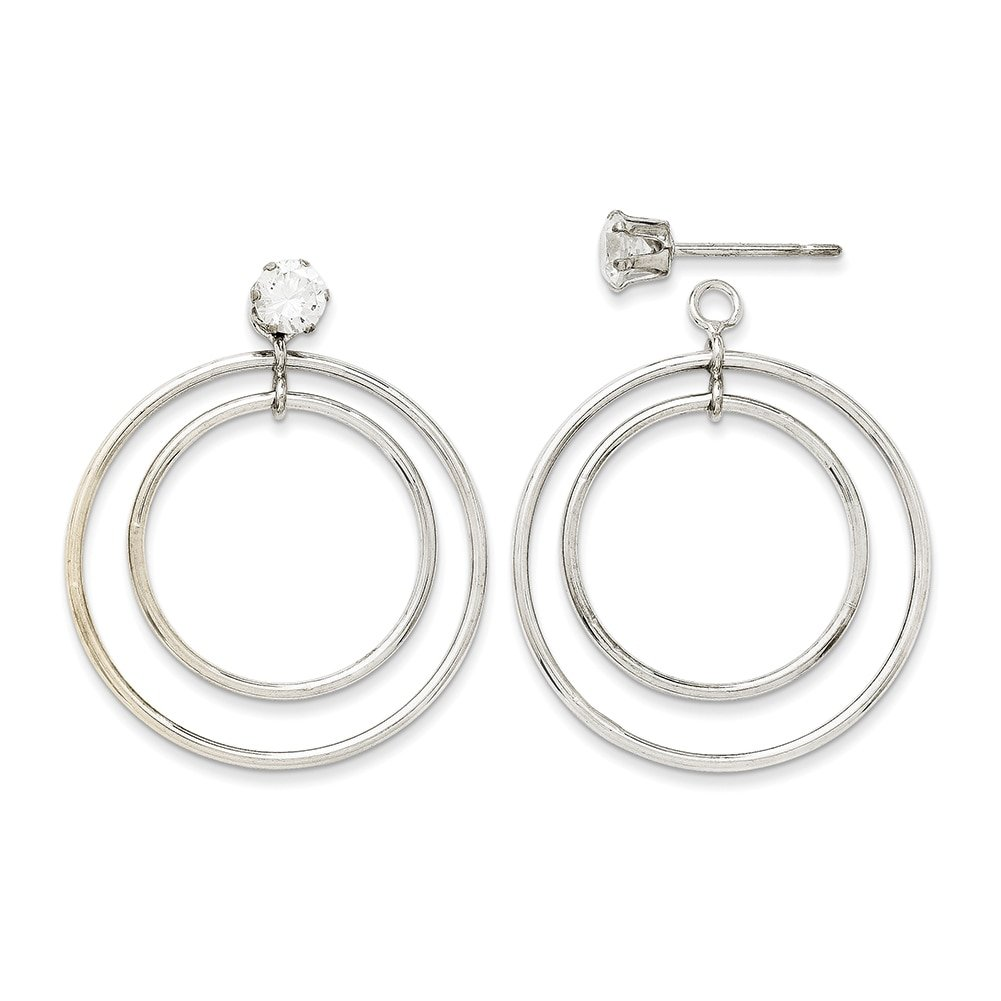 14k White Gold Double Hoop Earring Jackets YE1088 by Lex and Lu