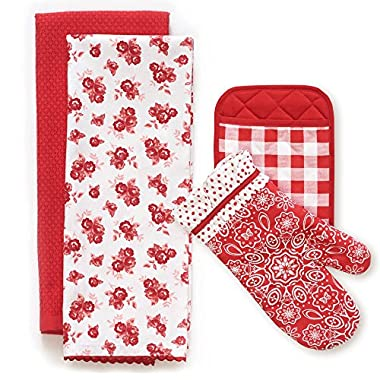 The Pioneer Woman Wild Rose Kitchen Towel, Oven Mitt, & Pot Holder 4 Piece Set