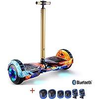 Pig Middle I Scooter de Equilibrio Automático para Niños Hoverboard, Scooter de Conmutación Eléctrico con Altavoz Bluetooth Luces Led y Poste de Mano Scooter Eléctrico 2 Ruedas para Regalo de Adultos